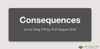 Consequences of not filing ITR by 31st August 2018
