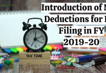 Introduction of New Deductions for ITR Filing in FY 2019-20